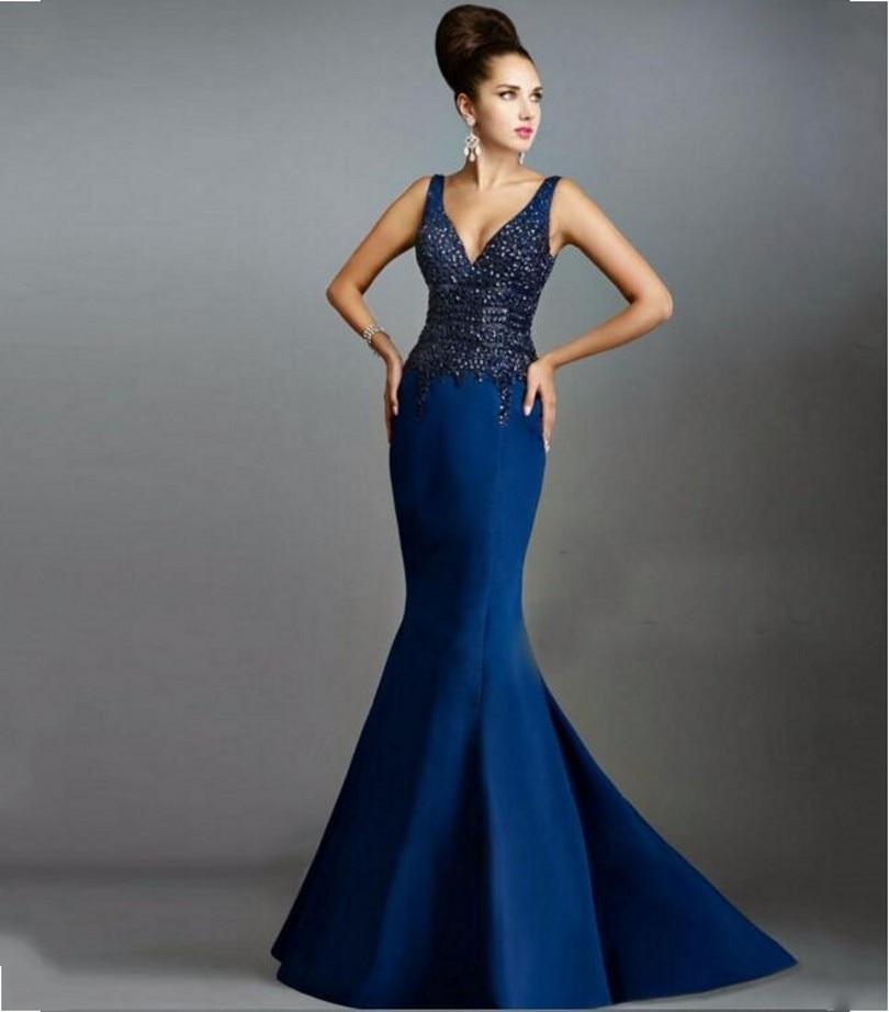 00c88135a5 De lujo de La Sirena Vestidos de Noche 2016 Azul Marino Con Cuello En V  Rebordear Cristales Formales Vestidos De Noche De Boda Del Partido Vestidos  de Baile ...