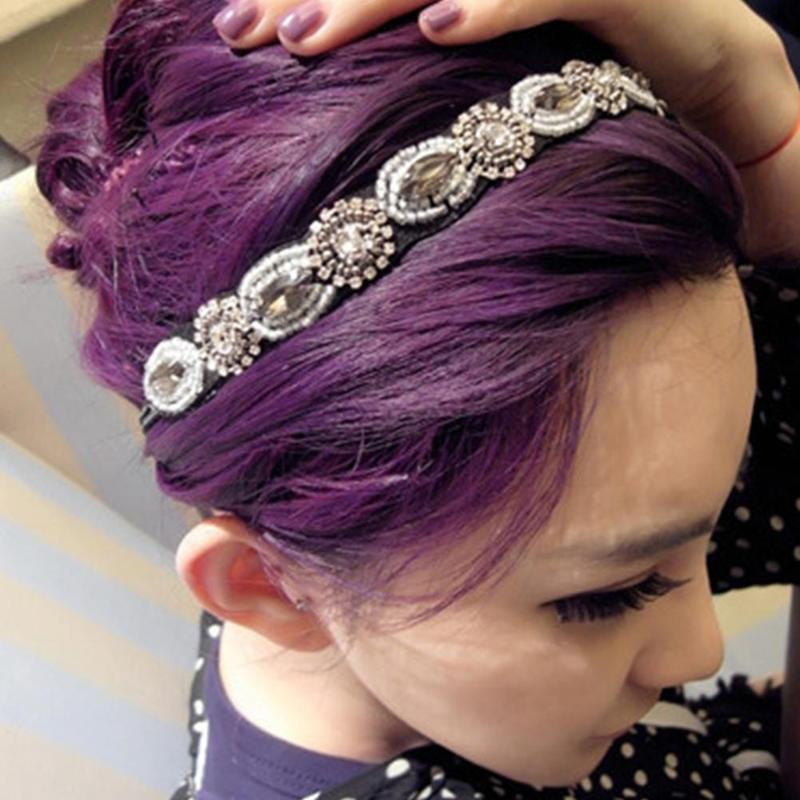 Headwear Women Spring Vintage Crystal Headband Beads Handmade Elastic Hair Bands Girls Hairband Hair Accessories Wedding Jewelry