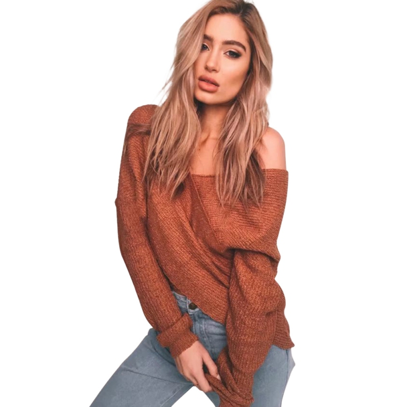 Newest V-Neck Criss-Cross Loose Sweater Winter Women's Fashion Sleeve Pullover Deep V Neck New Autumn Casual Jumper