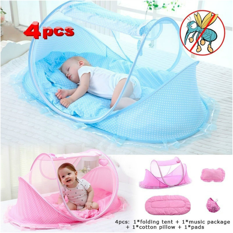 Portable Mosquito Net Foldable Crib Cradle Tent with Mattress Pillow and Music Pack Baby Travel Bed Pink