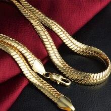 Colar estampado das mulheres dos homens da corrente do osso da serpente do ouro & do bronze grosso apertado 9mm 20