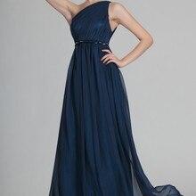 Великолепное одно плечо ремень бюст с рюшами темно-синий шифон вечернее платье