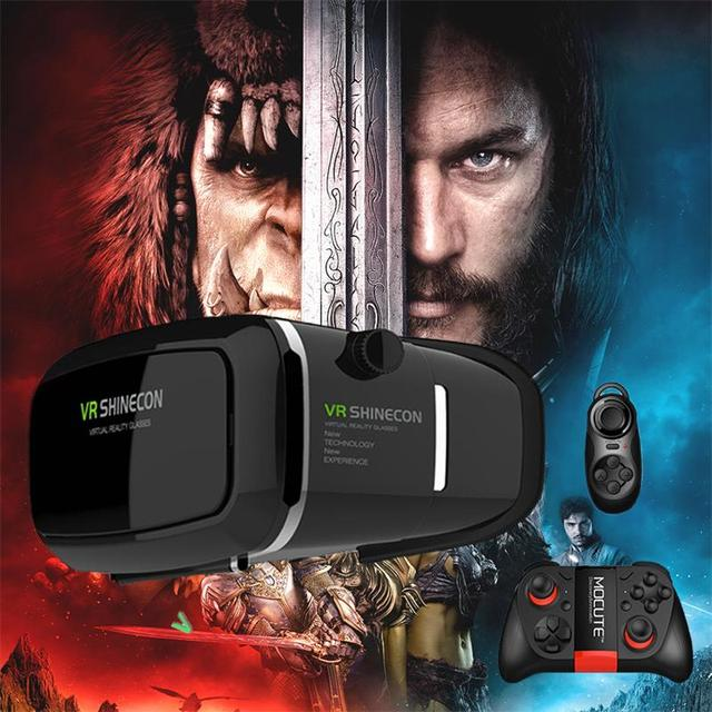 Shinecon vr pro versión de realidad virtual 3d vidrios auriculares cabeza mount google cartón película juego para 4-6 pulgadas del teléfono + remoto