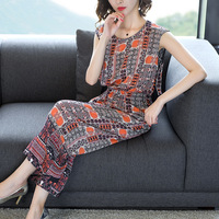 Silk print loose sleeveless lace elastic waist ankle length jumpsuits 2018 new high quality office lady women summer jumpsuits