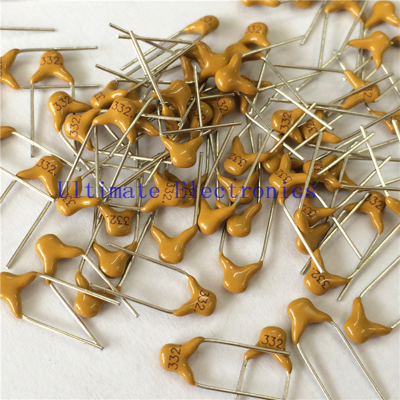 100pcs/lot  Multilayer Ceramic Capacitor 332 50V 3.3nF 332M P=5.08mm
