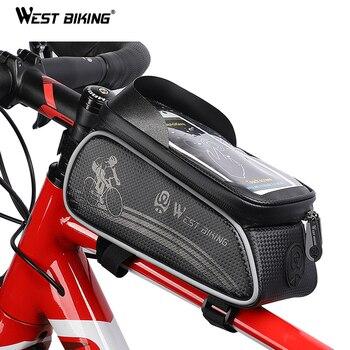 מערב אופניים תיק רכיבה על אופניים למעלה Tube Front מסגרת תיק עמיד למים 6.0 סנטימטרים טלפון מקרה אחסון מגע מסך MTB כביש אופני תיק