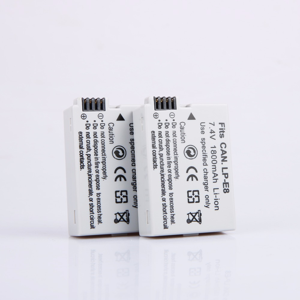 AOPULY 2Pcs LP-E8 <font><b>Battery</b></font> pack bateria LP-E8 lp e8 For <font><b>Canon</b></font> 550D 600D <font><b>650D</b></font> 700D X4 X5 X6i X7i T2i T3i T4i T5i DSLR Camera image