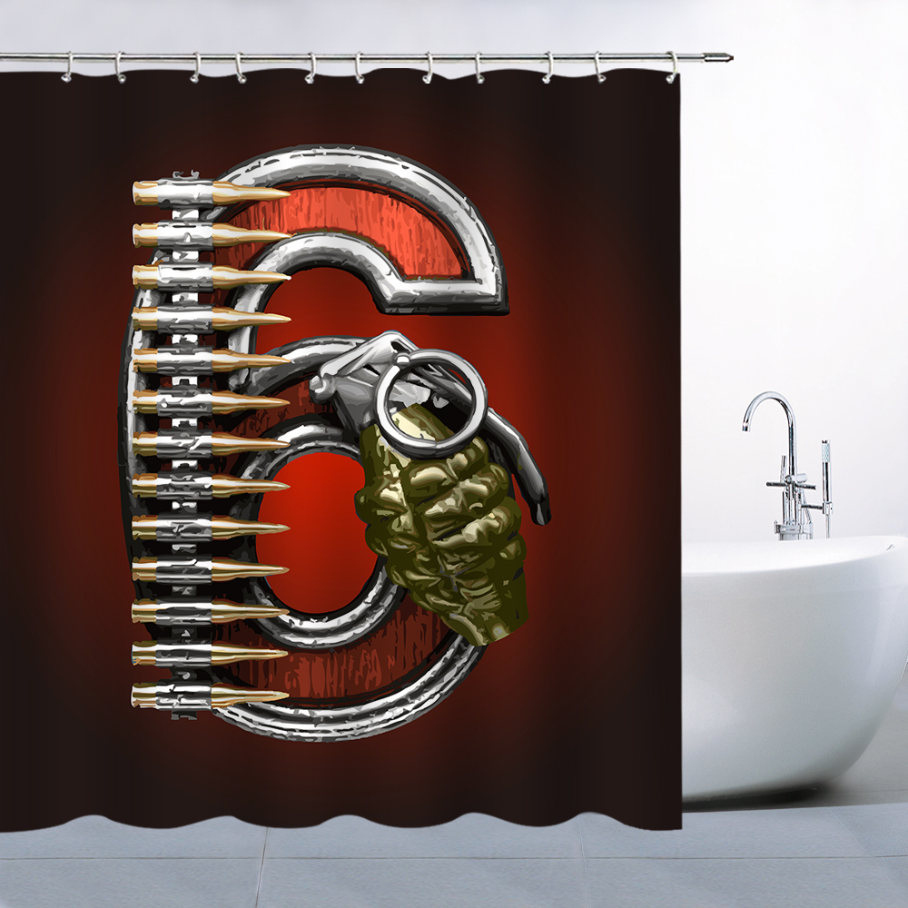 Arabic Numeral Theme Shower Curtain Number Six 6 Military Style Dark ...