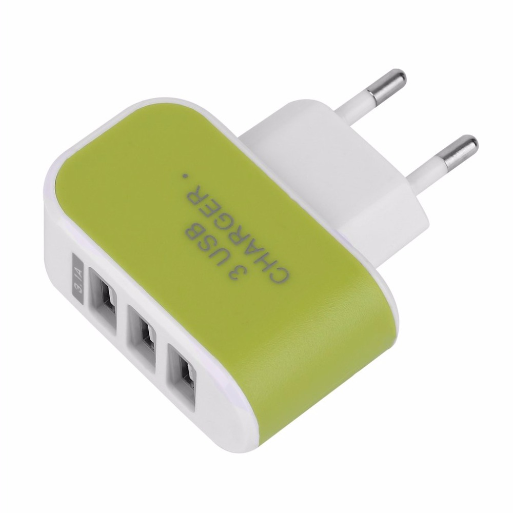 Hot Triple USB Port Wall Home Travel AC Power Charger Adapter 3.1A EU Plug Wholesale