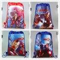 12 Unids Superhéroe Iron Man Cartoon Kids Cordón Impreso Mochila Playa Compras School Viajar Bolsa de Hombro 34*27 CM