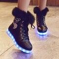 USB Rechargeable Luminous Shoes Women Rabbit Fur Quilted Boots Led Shoes Black Winter Snow Shoes
