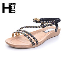 Hee Grand/Симпатичные размахивая женские сандалии в богемном стиле Стиль Летняя Пляжная плоская подошва Обувь Эластичная лента Обувь для отдыха женщина XWZ3324
