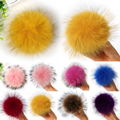 100% Natural Raccoon Fur Ball Key Chain Real Fur Pompoms Hat Winter Hats Fur Pom Pom For Shoes Bag Accessories With Buttons W2