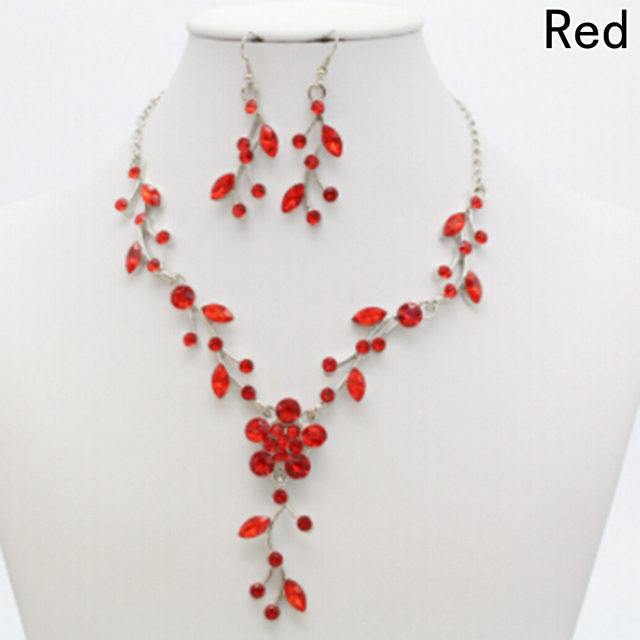 Drop Earrings Jewelry Set New Wedding Bridal Flower Leaf Rhinestone Crystal Neck