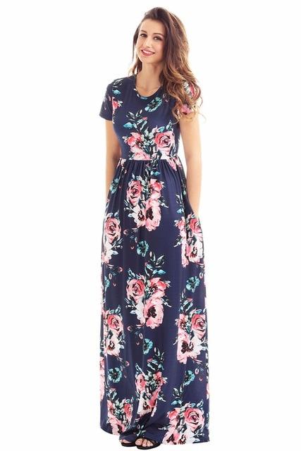 79e10b87f569e Boho Dresses Pocket Design Short Sleeve Navy Blue Floral Maxi Dress Empire  Flash neck high quality Dress Long Beach Dress