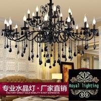 24 Arm Large Retro Led Home Chandeliers Living Room Black Crystal Chandelier Lustres De Cristal Villa