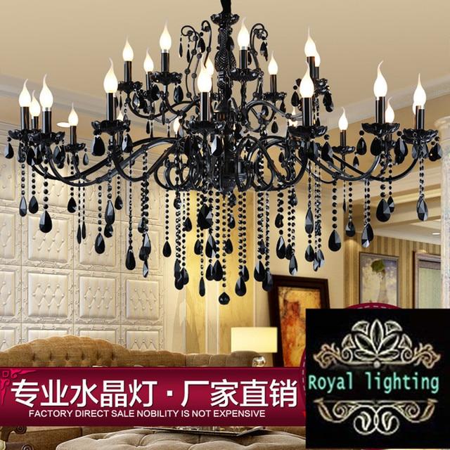 24-arm Large retro led home chandeliers living room black crystal chandelier lustres de cristal villa hotel light fixture abajur