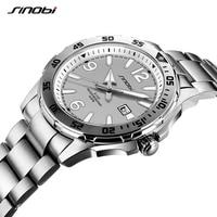 New Arrive SINOBI Diving Watch Mens Wristwatch Waterproof Top Luxury Full Stainless Steel Watch men Luminous Geneva Quartz Clock