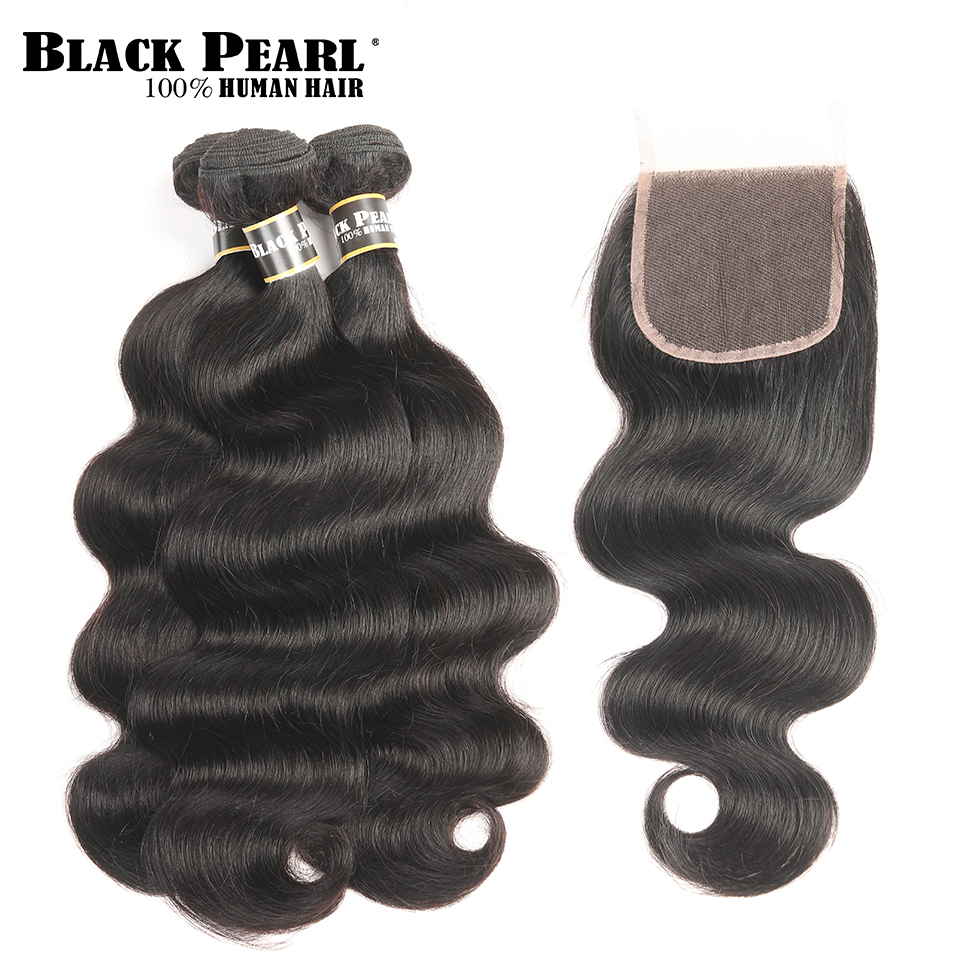 Black Pearl Pre-Colored 3 bundles with Closure Body Wave 4pcs/lot Peruvian Human Hair Bundles with Closure Non-Remy Hair Weave
