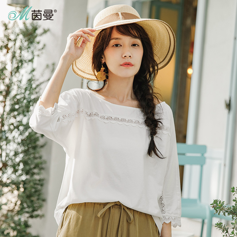 Inman Summer Boat Neck Collar Art Shirt Lace Stitching Three Quarters Sleeves Loose T-shirt Female