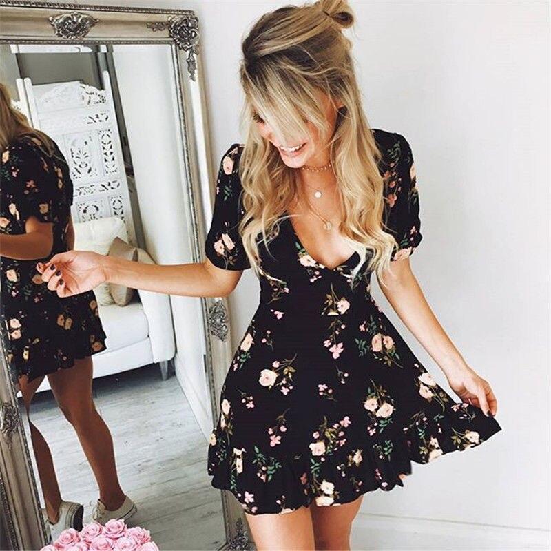 Women Mini Boho Floral Dress Summer Beach Short Sleeve V neck Evening Party bohemian beach dress 2018 Summer style boho floral mini dress