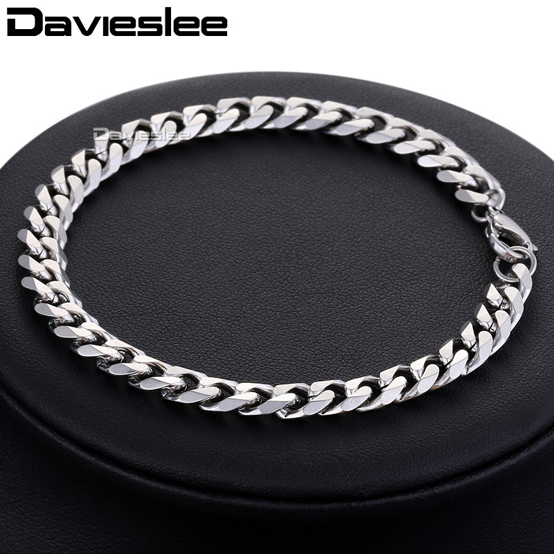 Bracelet for Men Women Curb Cuban Link Chain Stainless Steel Mens Womens Bracelets Chains Davieslee Jewelry for Men DLKBM05 HTB1JMInX79WBuNjSspeq6yz5VXas