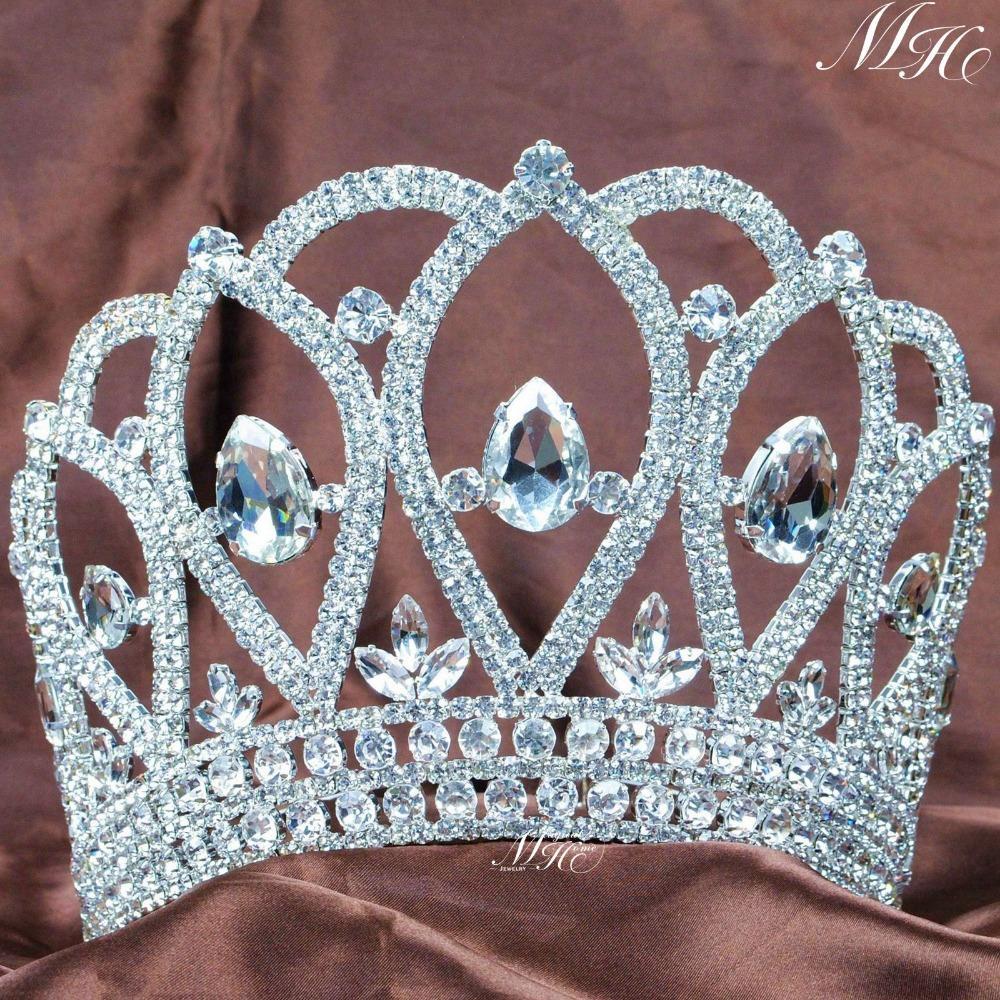 Queen Large Tiara Diadem Beauty Pageant Crown Handmade Crystal Rhinestones Women Hairband Bridal Wedding Party Costumes