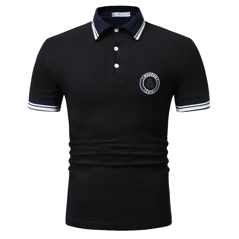 Brand High Quality Mens Polo Solid Embroidery Patchwork Polo Shirt Men Fashion Summer Clothes