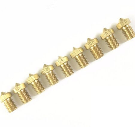 Vermetel 3d Printer J-head Extruder Messing Nozzles 0.2/0.25/0.3/0.35/0.4/0.5/0.6/0.8/1.0mm Voor 1.75/3.0mm Benodigdheden Voor E3d V6 V5