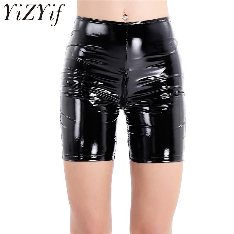 Women Shiny Leather Hot Shorts Pants High Waist Zippered Club Wear Dance Costume