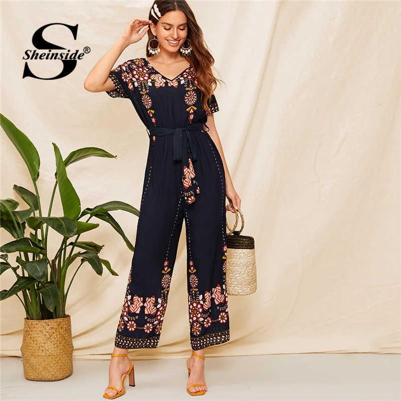 women store enjoy lowest price Sheinside V Neck Floral Embroidered Belted Maxi Jumpsuit Women 2019 Summer  High Waist Navy Jumpsuits Ladies Wide Leg Jumpsuit