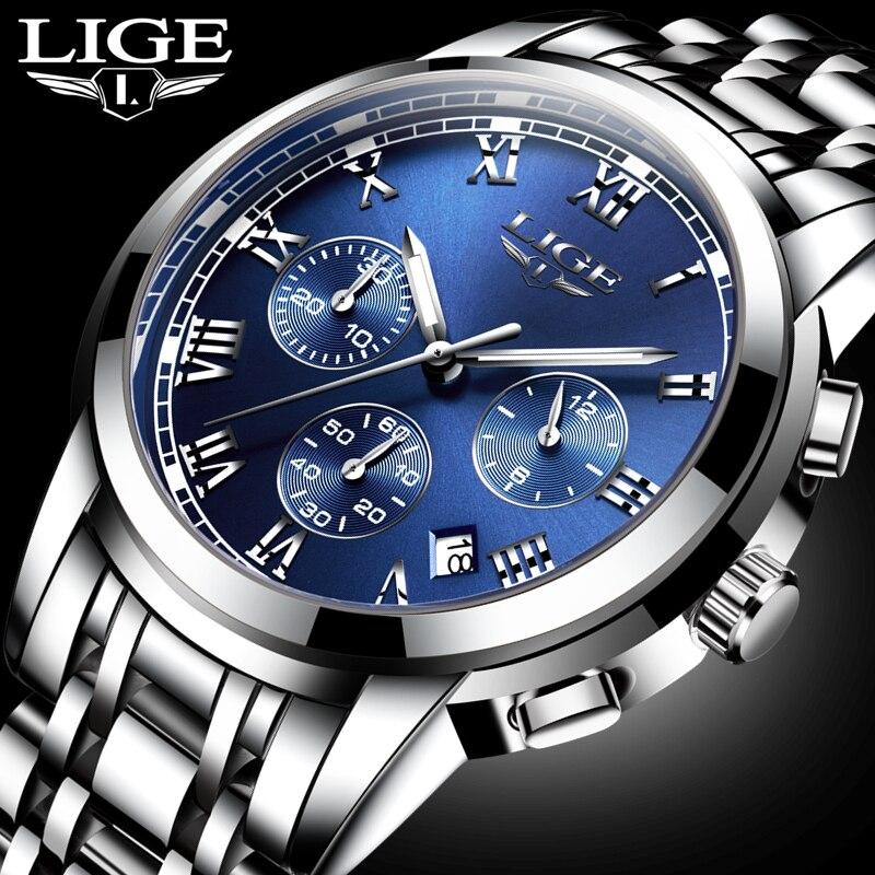 LIGE Mens Watches Top Brand Luxury Sport Quartz Watch Men's Casual Full Steel Waterproof Business Wrist Watch Relogio Masculino цена
