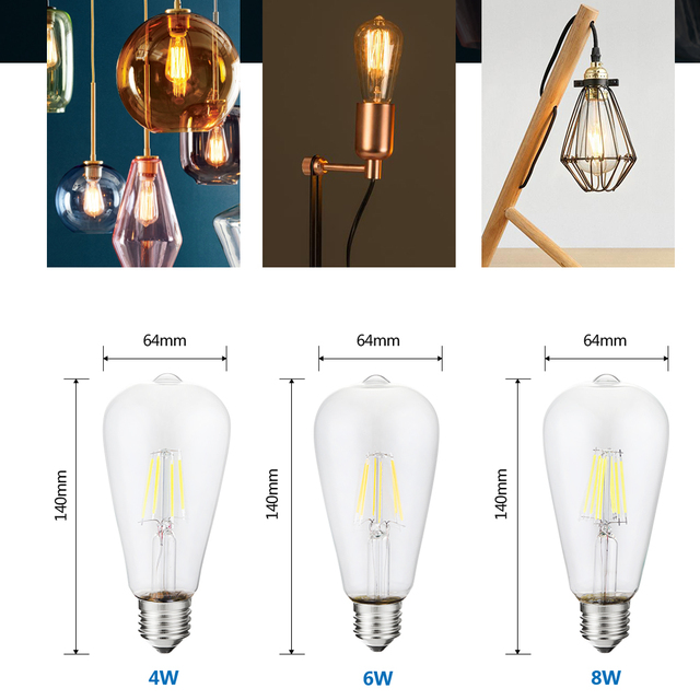 LUCKYLED Edison Led Bulb E27 220V E26 110V Vintage Filament Led Bulb Light Dimmable 2W 4W 6W 8W  Retro Glass Ball Bombillas ST64