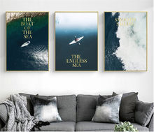 3 Pieces Deep Blue Sea Landscape Modular Print Picture Poster Decor Printed Canvas no Frame for Living Room Wall Art Pictures(China)