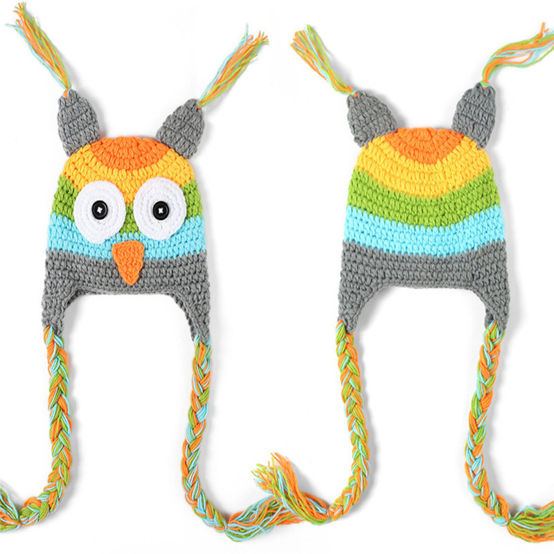 Cute Winter Baby Hat Cap Girls Boys Knitted Crochet Hats Baby Owl Hat With Ear Flap Toddler Infant Photography Props Animal Hat doubchow adults womens mens teenages kids boys girls cartoon animal hats cute brown bear plush winter warm cap with paws gloves page 7