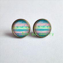 ES-00301 1pair GEEKERY pierced earrings SCIENCE Earrings Comet eardrops Shoemaker Levy 9 Jupiter Planet Galaxy glass Cabochon