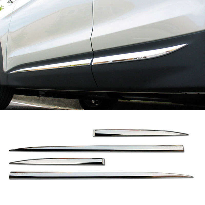 ABS Chrome Side Door Garnish Molding Trim 4P For HYUNDAI 2013 2014 2015 2016 2017 2018 Santa Fe DM Accessories Car Styling fit for subaru forester 2013 2014 2015 2016 2017 2018 car styling abs chrome body side overlay cover trim trims