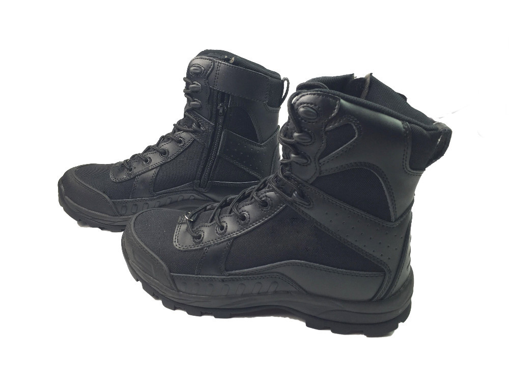 Military Men Leather Combat Boots With A Zipper Outdoor Hiking Male Commando Tactics Autumn Motorcycle Desert Shoes Black Tan new outdoor hiking boots special forces tactical boots men s desert combat boots size 39 40 41 42 43 44 45