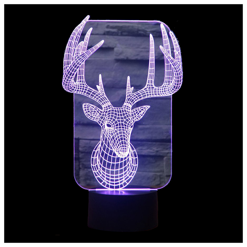 Reindeer Illusion Night Light 7 Colors with Smart Touch Button USB Cable Black+Transparent