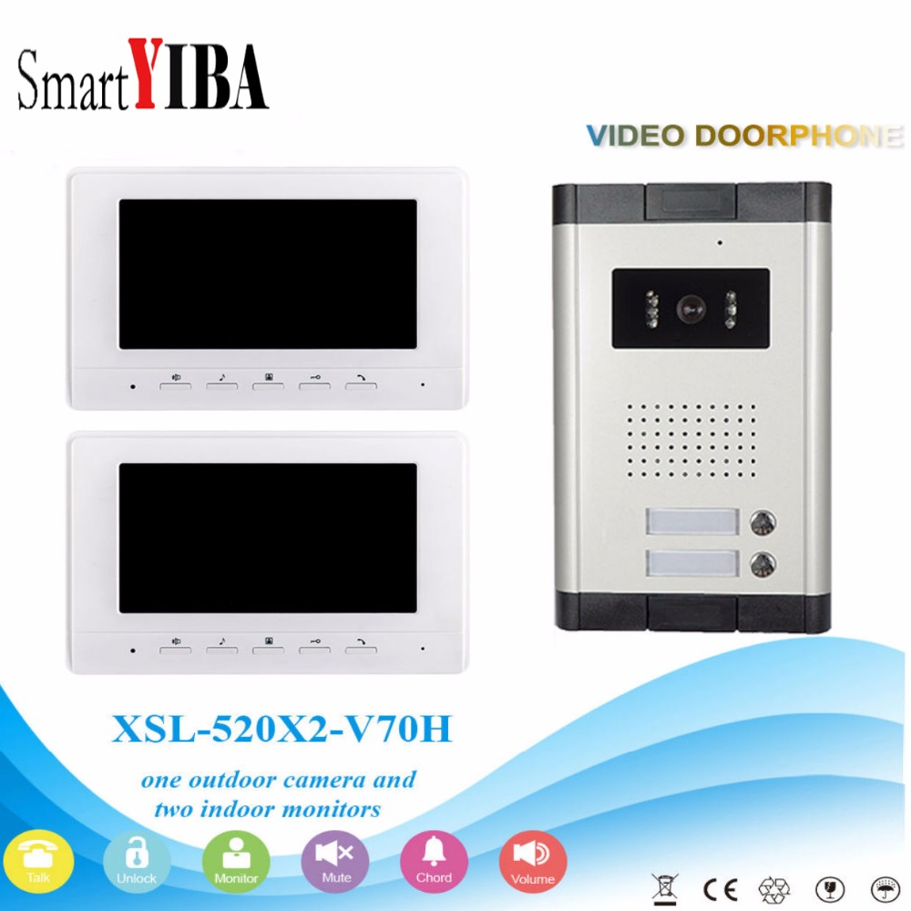 SmartYIBA New 7 Color Video Intercom Door Phone System 2 White Screens 1 Doorbell Camera for 2 House In StockSmartYIBA New 7 Color Video Intercom Door Phone System 2 White Screens 1 Doorbell Camera for 2 House In Stock