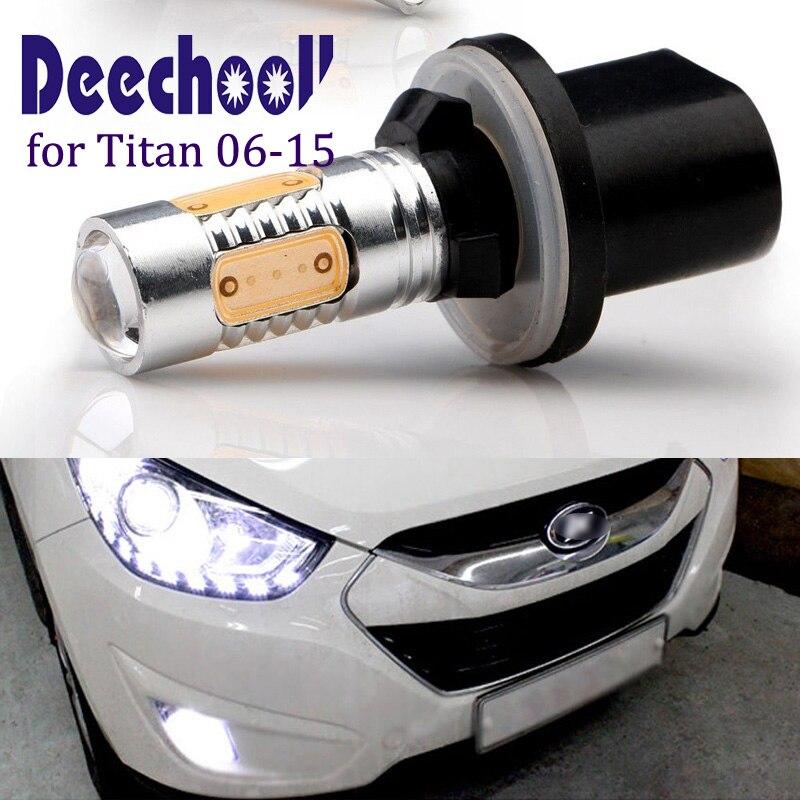 deechooll 2pcsx Car <font><b>LED</b></font> Light for Titan 2006-2015 ,880 <font><b>H27W</b></font>/1 COB Fog Light Bulb for Headlight Driving Lamp Accessories