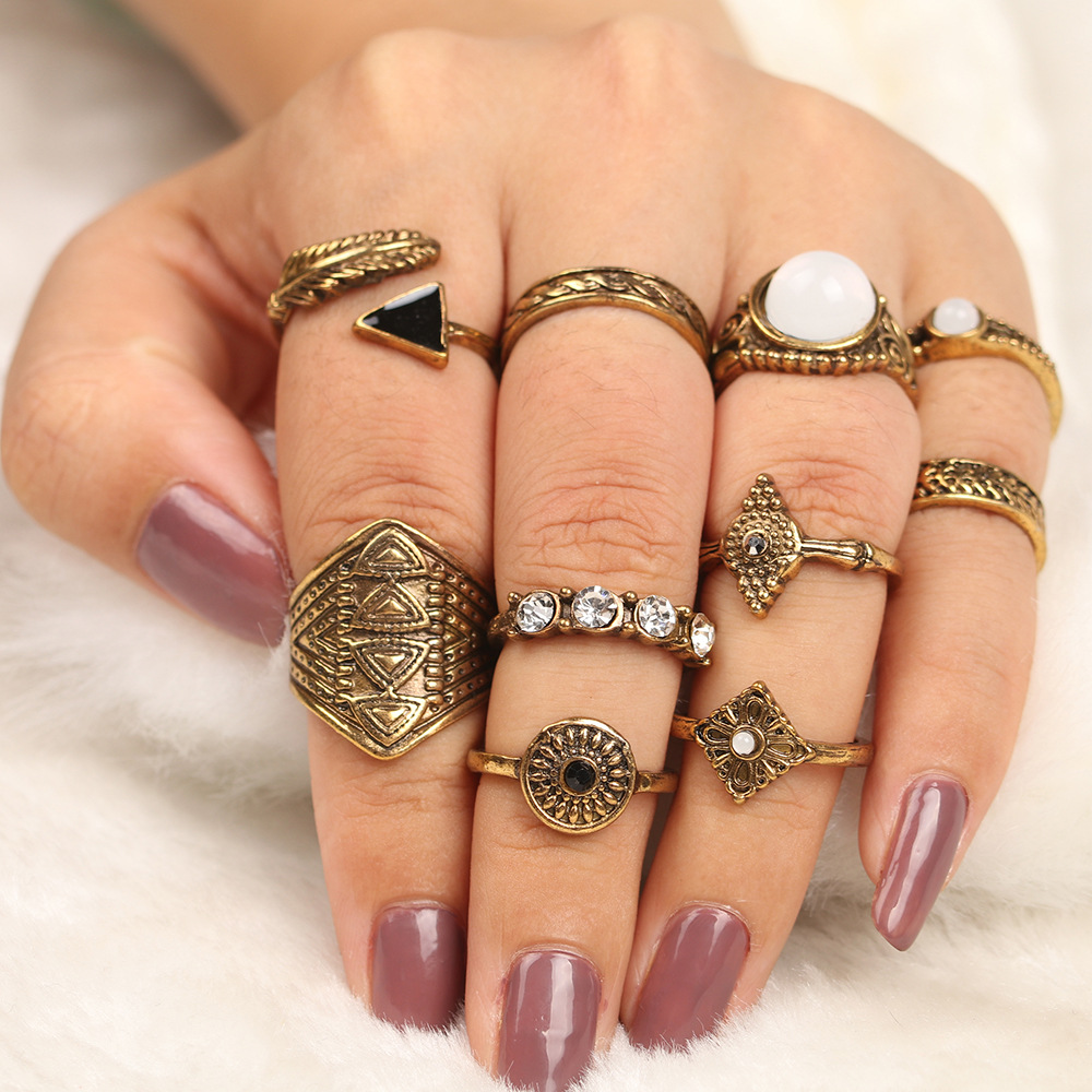 15PcsSet Fashion Vintage Ring Set Femme Stone Silver Midi Finger Rings Boho Women Jewelry Knuckle Ring Set Jewelry