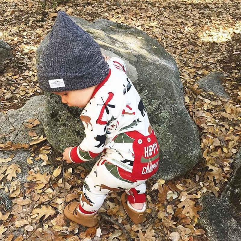 Noworodka bawełna dla chłopca Deer Romper kombinezon z długim rękawem