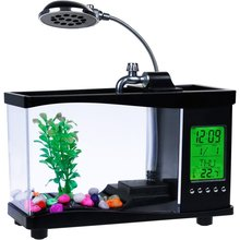 new led lights Usb Mini Fish Tank Desktop Electronic Aquarium Mini Fish Tank with Water Running LED Pump Light Calendar Clock