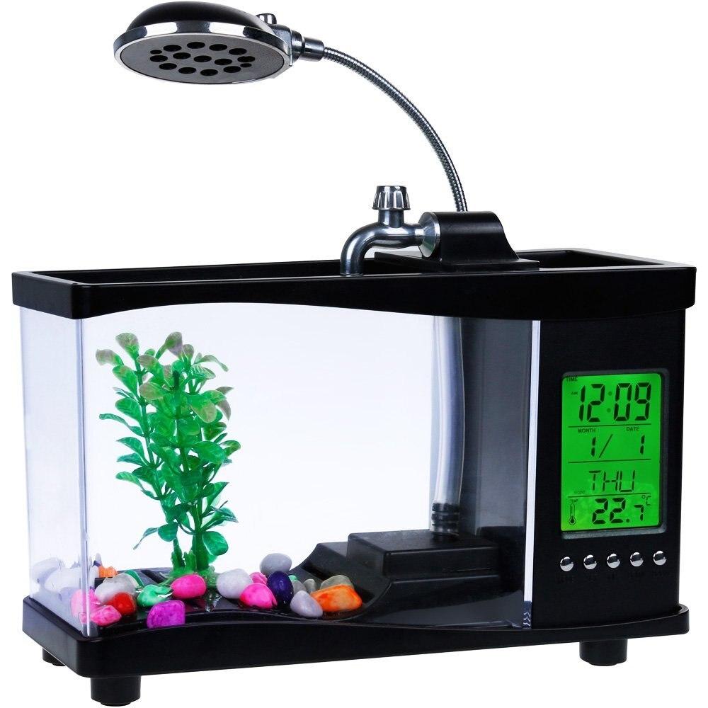 Usb mini aquarium fish tank - New Led Lights Usb Mini Fish Tank Desktop Electronic Aquarium Mini Fish Tank With Water Running