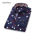 2017 Новая Коллекция Весна Мужская Мода Одежда Цветок Slim Fit Мужчины С Длинным Рукавом Рубашки Мужчины Высокого качества Случайные Люди Рубашки Социальной