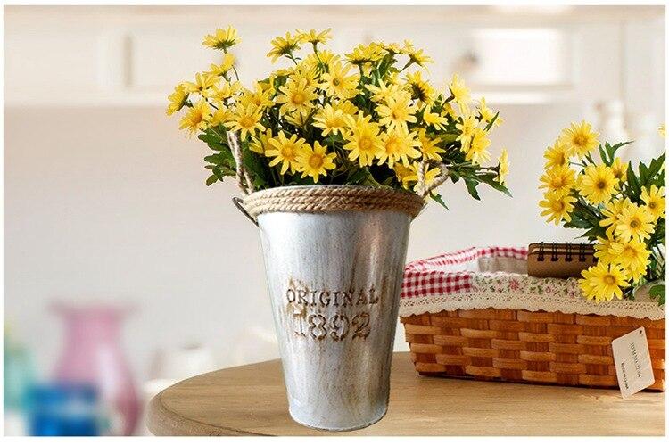 1pc New Flower Barrels Basket Vases Tin Pots Vintage Artificial