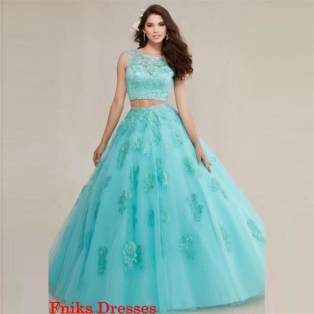 21d7a8f10 Two Pieces Cheap Turquoise Quinceanera Dresses 2016 vestidos de 15 anos  Tulle Applique Beaded masquerade vestidos de quinceanera