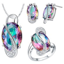 Factory price wholesal     gem Gift Women's Ring Earrings Necklace Set  White  Filled for women jewelry
