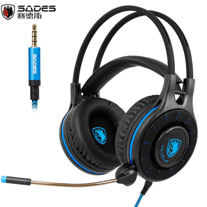 Sades SA936 3.5mm Wired Gaming Headset 2016 New Xbox One Gaming Headphones With Microphone for PS4 PC Laptop Mac iPad Mp3 Phone sades wings headphones 3 5mm phone call and music earphone portable in ear gaming headset for pc xbox one ps4
